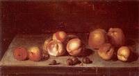 still life with apples and a snail on a stone ledge by johannes bouman