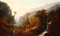 great falls with views of the andes (chimborazo) by alexander françois loemans