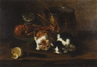 three kittens on a table with seafood by f. krantz