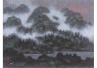 lake and mountain by akira kaho