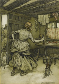 so that he was fain to draw off his forces and take to the outside of the house - the only side which, in truth, belongs to a henpecked husband by arthur rackham