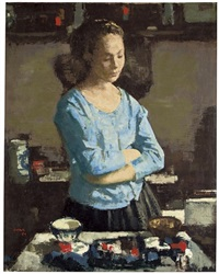 lady in an interior by francisco serra