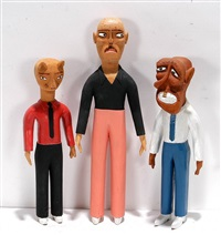 three figures: man with crooked nose, cat man, and bald man (3 works) by sulton rogers