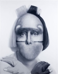 african self-hybridization, songye secrecy mask with gloved euro-forezian woman with rollers by orlan