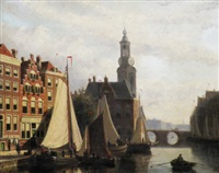 a dutch canal scene by john frederik hulk the younger