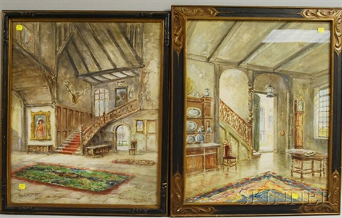 interior scenes nutley grange and old hall ticknal derby pair by thomas gold appleton