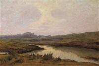 scorcio di paesaggio con fiume by renuccio renucci