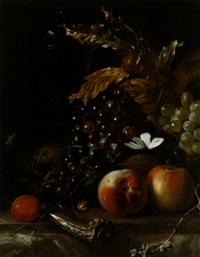 stillleben mit weintrauben, pfirsichen und einem jagdmesser by coenraet (conrad) roepel