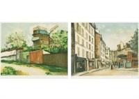 le moulin de la galette (estamp) (set of 3) by maurice utrillo