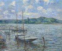 barque et ponton by gustave loiseau