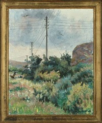 landscape with rainy clouds coming in by victor brockdorff