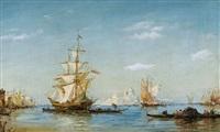 segelschiffe vor santa maria della salute in venedig by riverazi
