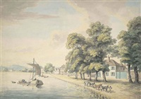 a figure leading horses pulling a barge along a river (hammersmith mall, london?) by william samuel howitt