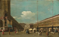 view of piazza san marco venice, looking west from south of the central line by canaletto