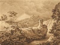romantische gebirgslandschaft mit bergfestung by giorgio campani
