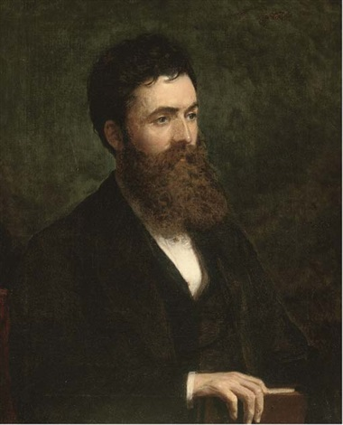 portrait of a bearded gentleman bust length holding a book portrait of a lady bust length in a black dress with lace collar pair by ll ritchie
