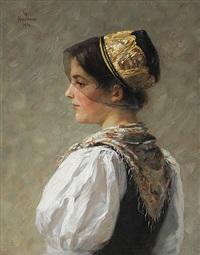 junge mühlenbacherin mit goldhaube by wilhelm g. hasemann