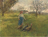 a young girl with turkeys in a landscape by crisanto del monaco