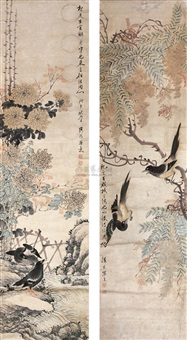 花鸟 (flowers and birds) (2 works) by sima zhong