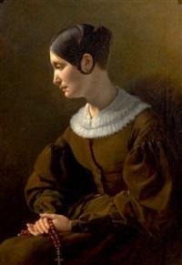 portrait de femme en prière by alexandre-jean-baptiste hesse