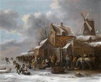 eine winterlandschaft mit dorfbewohnern vor einem wirtshaus by klaes molenaer