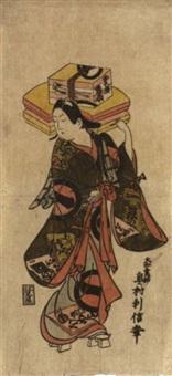 der schauspieler ichikawa monnosuke i als fächerverkäufer by okumura toshinobu