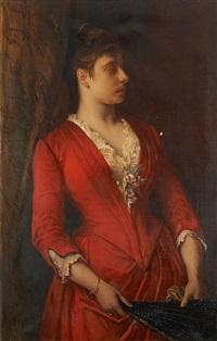 jeune femme à l'éventail de profil by jean françois portaëls