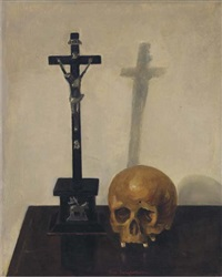 still life with crucifix and skull by theo swagemakers