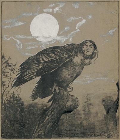 harpye auf einem ast sitzend by hans thoma