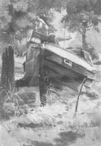 an einem flüßchen ankerndes boot by fritz müller