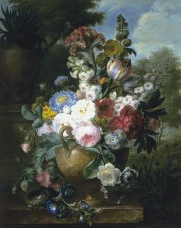 bouquet de fleurs dans un vase pose sur un entablement de marbre avec un nid doiseaux by cornelis van spaendonck