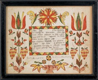 untitled (fraktur birth record for lidia jegle) by abraham huth