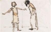 zwei stehende figuren (theaterszene) by emil nolde