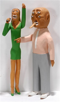 large couple: man with four eyes and woman in green (2 works) by sulton rogers