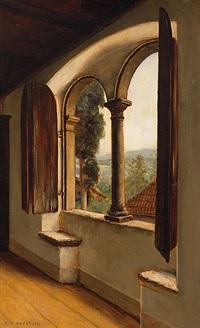 blick durch das bogenfenster eines palazzos in hügelige landschaft by george von hoesslin