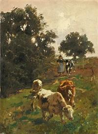 hirtin mit kühen auf dem heimweg by wilhelm friedrich frey