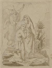 abraham wird von einem engel davon abgehalten, seinen sohn isaak zu opfern by franz nadorp