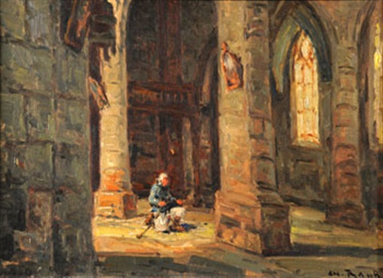 la prière, église de locronan by charles francisque raub