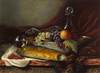 still life with bread, wine and strawberries by ken hamilton
