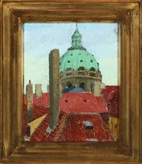copenhagen rooftops with the marble church in the background by herdis gelardi
