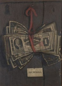 a bundle of bills - a trompe l'oeil painting by ferdinand danton the younger