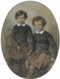 doppelporträt der söhne charles und william, des dukes of hamilton uund der prinzessin marie von baden by f. senaile