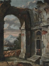 an architectural capriccio with figures conversing, a landscape beyond by viviano codazzi