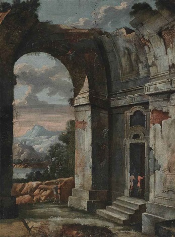 an architectural capriccio with figures conversing a landscape beyond by viviano codazzi