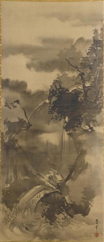wasserfall in nebliger gebirgslandschaft (+ zwei eremiten und ein diener beim aufstieg zu einem entlegenen tempel; pair) by tani buncho