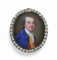 sir edward dering, 6th bt. (1732-1798), in blue coat, gold-bordered red waistcoat, white lace cravat, dark hair by nathaniel hone the elder