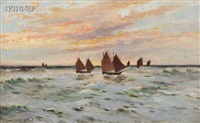 sailboats under a pink sky by james hughes clayton