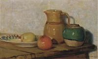 a still life with a jug and apples (+ a still life with roses in a pewter jug; 2 works) by anna lehmann