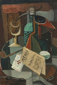 nature morte au menu et au siphon by louis marcoussis