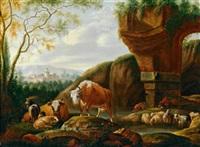 eine herde vor antiken ruinen by johann michael frey